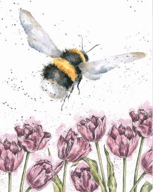 "Wrendale mini card ""Flight of the Bumblebee"" - hommel"