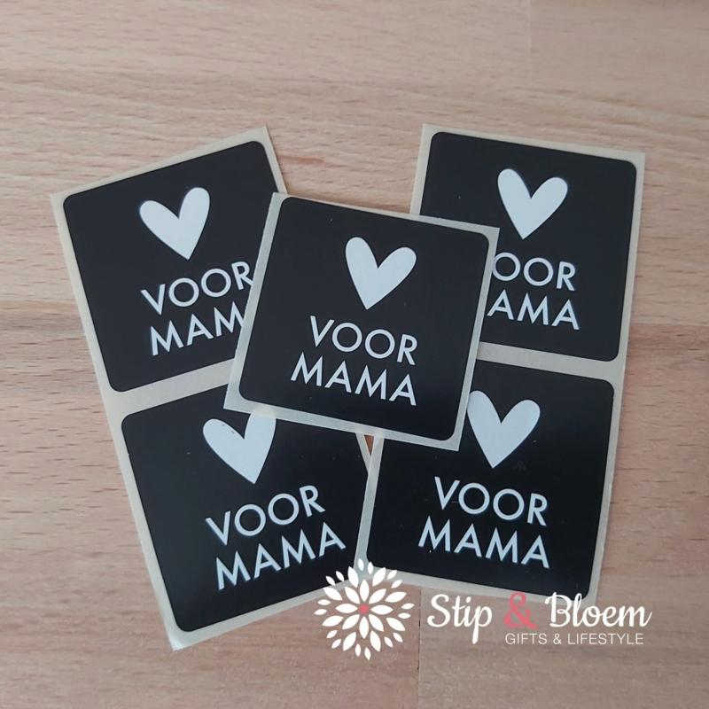 Sticker 35mm - voor mama zwart/wit - per 5