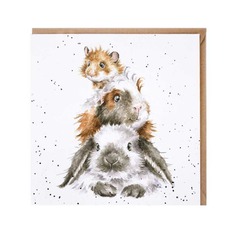 """Wrendale greeting card - """"Piggy in the Middle"""""""