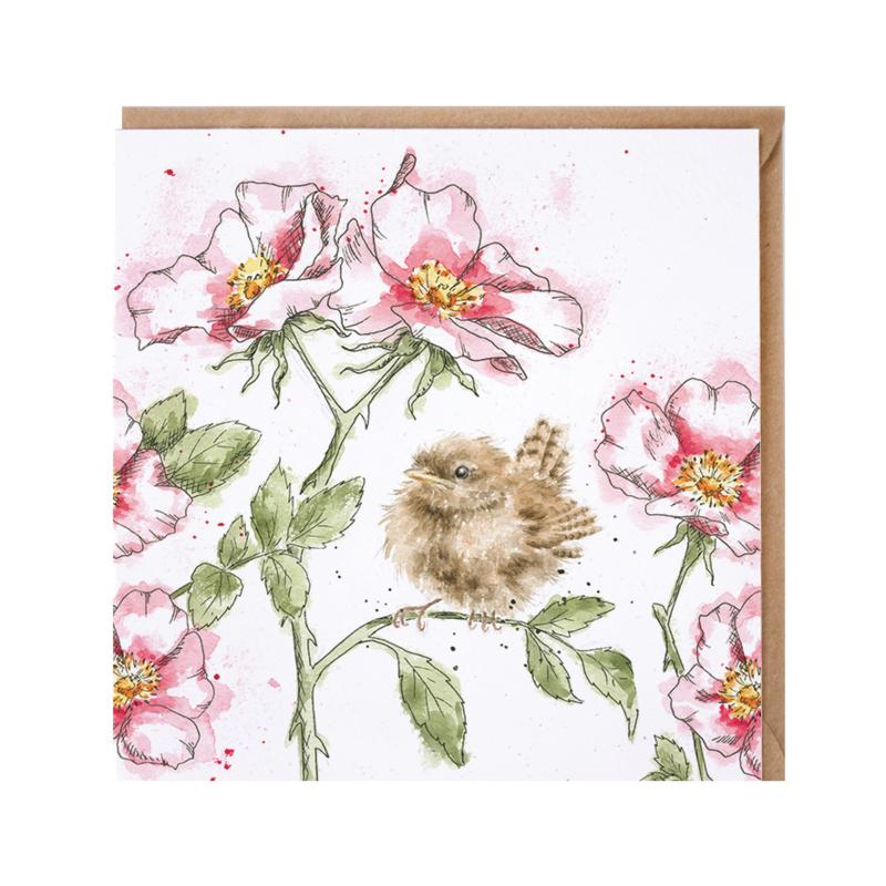 "Wrendale greeting card - ""The Rose Garden"" - vogel"
