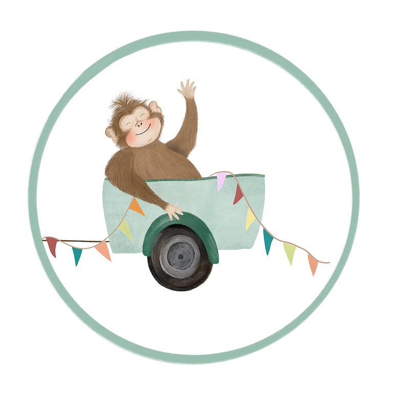 Getekenddoorzusje - 4cm sticker aap in aanhanger - per 10