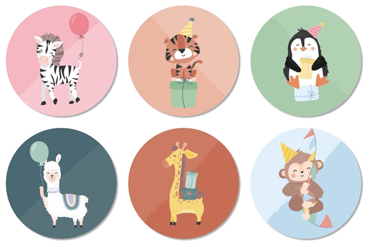 Tante Kaartje sticker 50mm - Party Animals - Mix - per 12