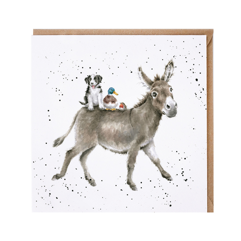 """Wrendale greeting card - """"The Donkey Ride"""""""