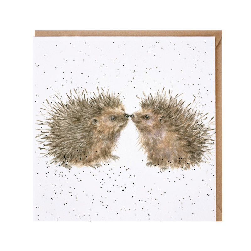 """Wrendale greeting card - """"Hogs and Kisses"""" - egel"""