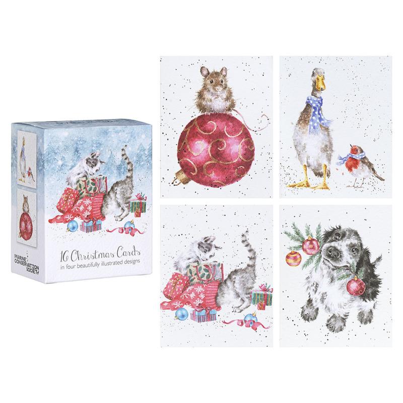 "Wrendale Boxed Mini Charity Christmas Cards  ""Kitten"" - set van 16"