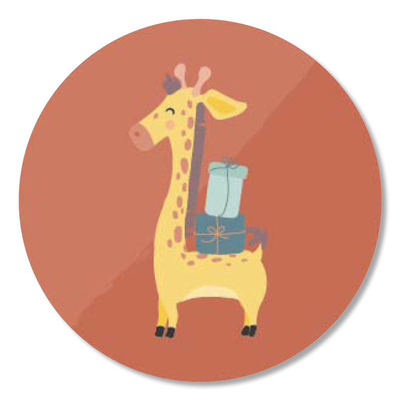 Tante Kaartje sticker 50mm - Party Animals - Giraffe - per 10