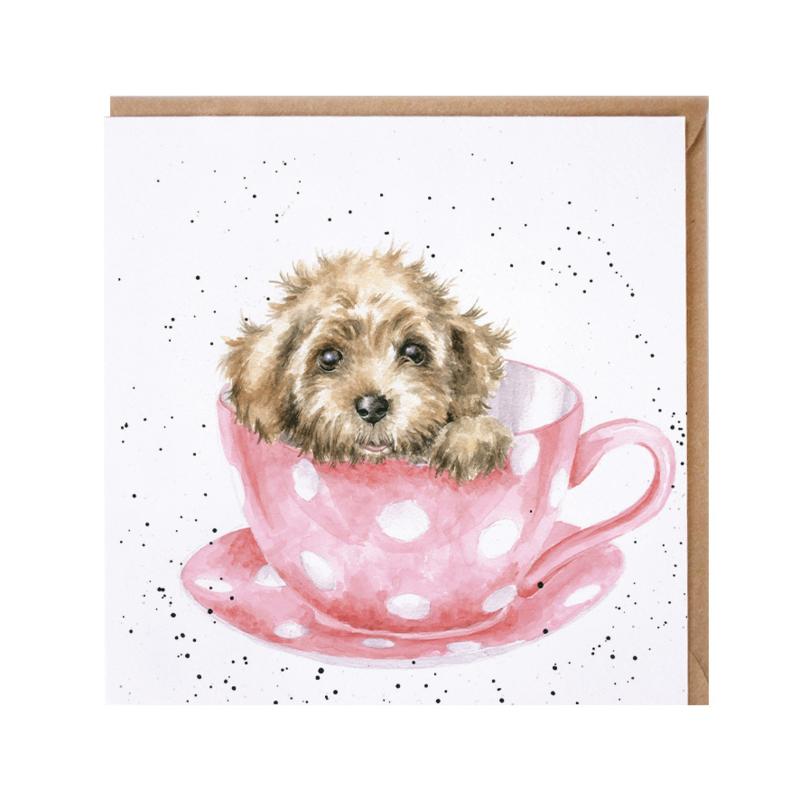 "Wrendale greeting card - ""Teacup Pup"" - hond"