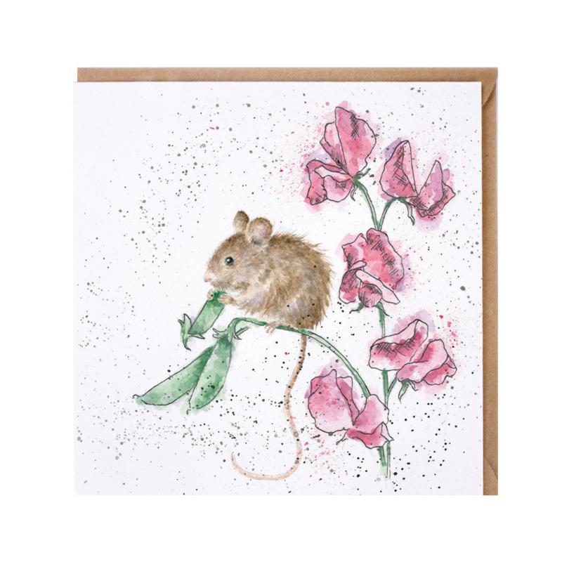 """Wrendale greeting card - """"The Pea Thief"""" - muis"""