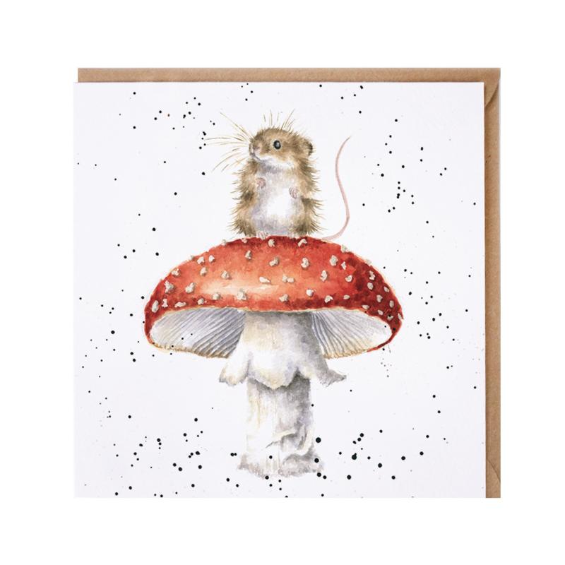 "Wrendale greeting card - ""He's a Fun-Gi"" - muis"