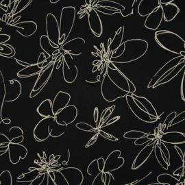 Cupro | Flowers  - Ecru - Zwart