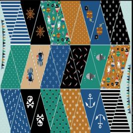 Katoen Print   Slinger - Piraat - Paneel