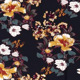 Viscose Flowers - Dark Blue