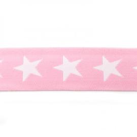 elastiek band- ster roze/ 4 cm