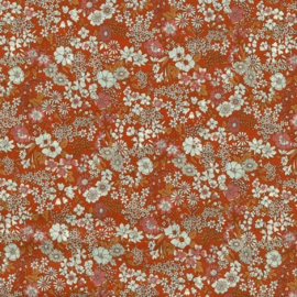 Kokka |  Retro Collection | Lawn |  Flowers -  Rust