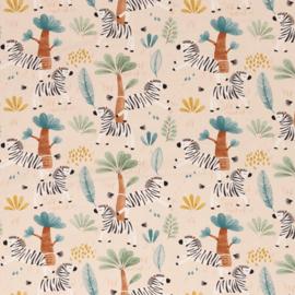 Swafing Tricot Print -  Savana Friends - Zebra - Beige