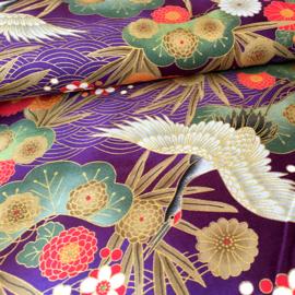 Japanese Floral Print | Tsuru to hana in violet - Cotton