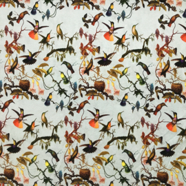 tricot print digitaal  | hummingbird |  lichtblauw | mies en moos