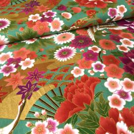 Japanese Floral Print |Tsuru to hana, fan - Green - Cotton