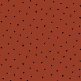 Katoen Poplin Brushed | Hearts - Terra  - Black