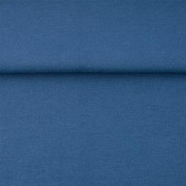 tricot boordstof uni | jeansblauw
