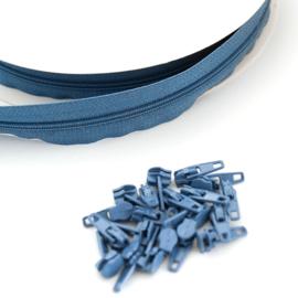 Rits aan de meter - 10 meter - Jeansblauw