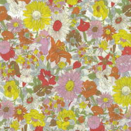 Kokka |  Retro Collection | Lawn |  Flowers -  Yellow  - Pink