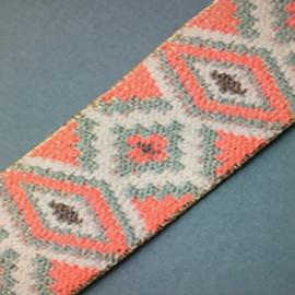 elastiek jaquard | tirquaz | roze met lurex | 4 cm breed