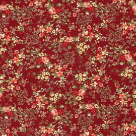 Viscose | Flowers  -  Red