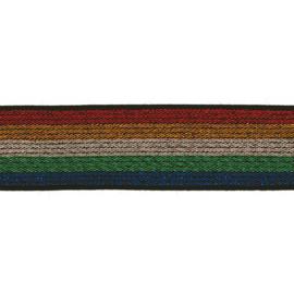 Elastiek Streep | Rood - Geel - Groen - Blauw |   25 mm breed