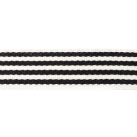 Tassenband Katoen | Streep - Zwart | 4cm breed