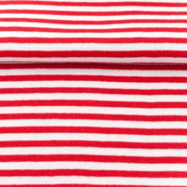 tricot boordstof streep | wit - rood