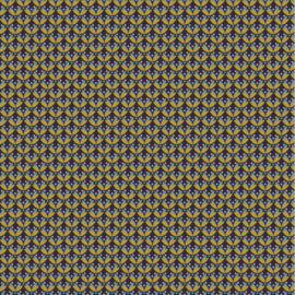 Katoen Poplin | Graphic  - Navy - Ochre