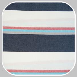 katoen   streep breed    blauw-rood-wit