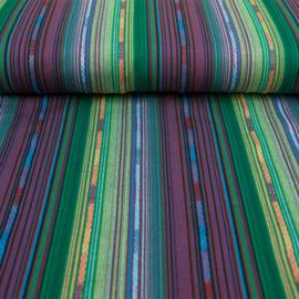 Decostof |  Mexicaans multicolor groen - lila  streep