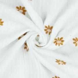 Double Gauze   Daisy - White