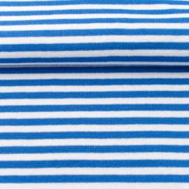 tricot boordstof gestreept | koningsblauw