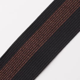 Elastiek Streep | 5 cm breed | Black - Copper Lurex