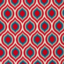 Decostof | Linnenlook  | Abstract Oval  - Red - Blue