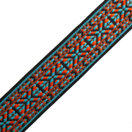 Band Jaquard | turquoise - bruin - oranje |  4 cm breed