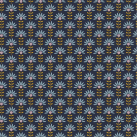 Katoen Poplin | Graphic Flower - Navy