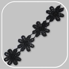lint bloem zwart groot/ 30mm
