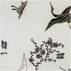 Katoen Print | Double Gauze | Kraanvogel  | Rico-Design