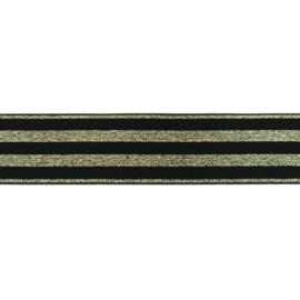 Elastiek | 4 cm breed | Zwart  met Glitter - Goud