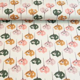 Tricot Print   Swafing   Blossom - Ecru