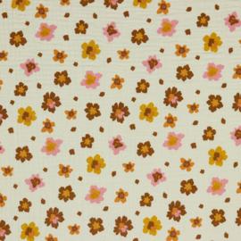 Double Gauze GOTS   Flowers - Ecru
