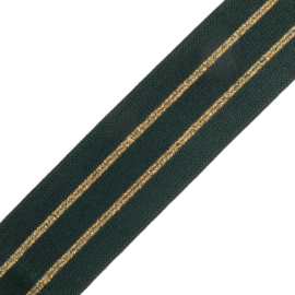 Elastiek  streep | 4 cm breed | forest green - 2 stripes gold lurex