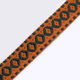 Band Jaquard | Indian Orange - Petrol | 2,5 cm breed
