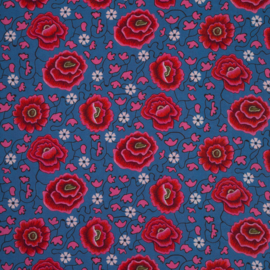 woven viscose | floral border | blue -bright pink | by Jolijou | Swafing