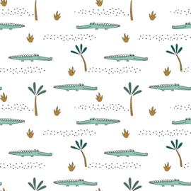 Tricot Print GOTS | Crocodile - White