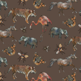 Katoen Poplin Digital |  Zoology - Brown